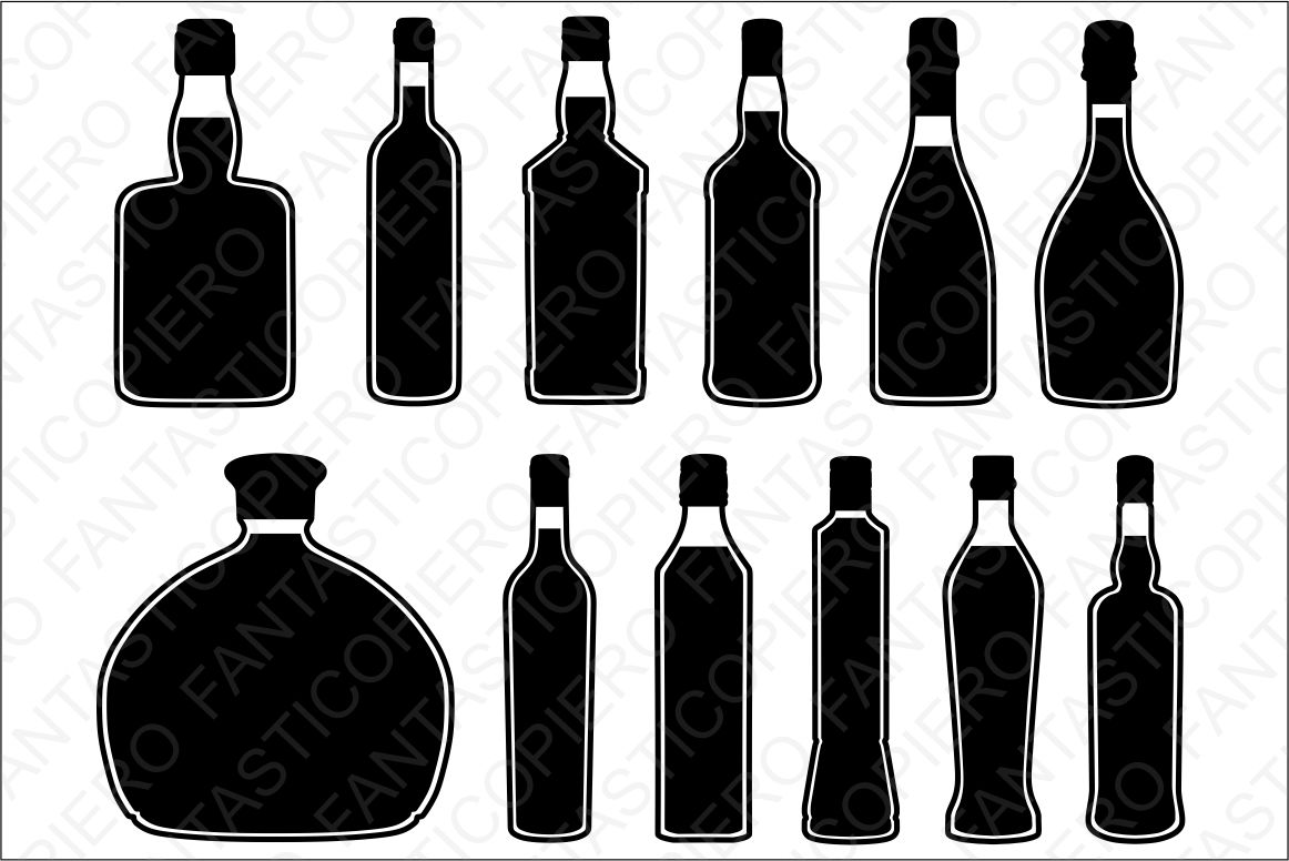 Bottles SVG files for Silhouette and Cricut. example image 1