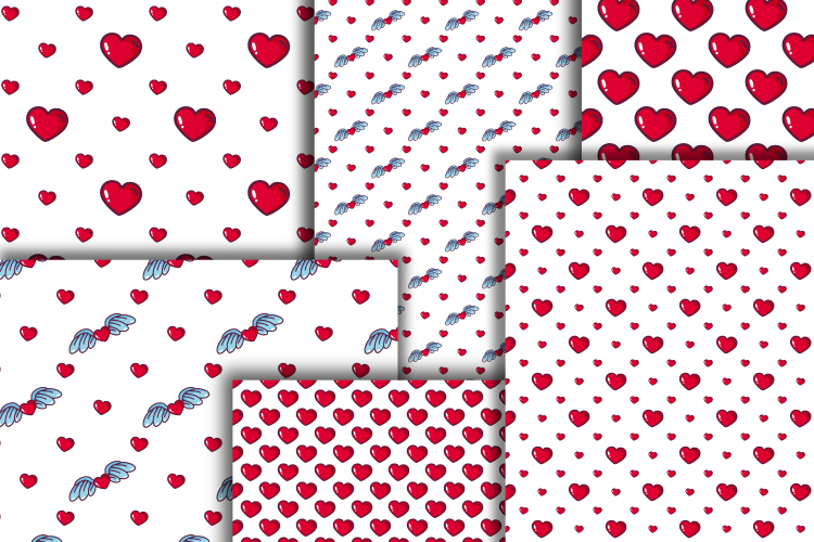 Hearts digital paper. Valentine's day seamless patterns example image 4