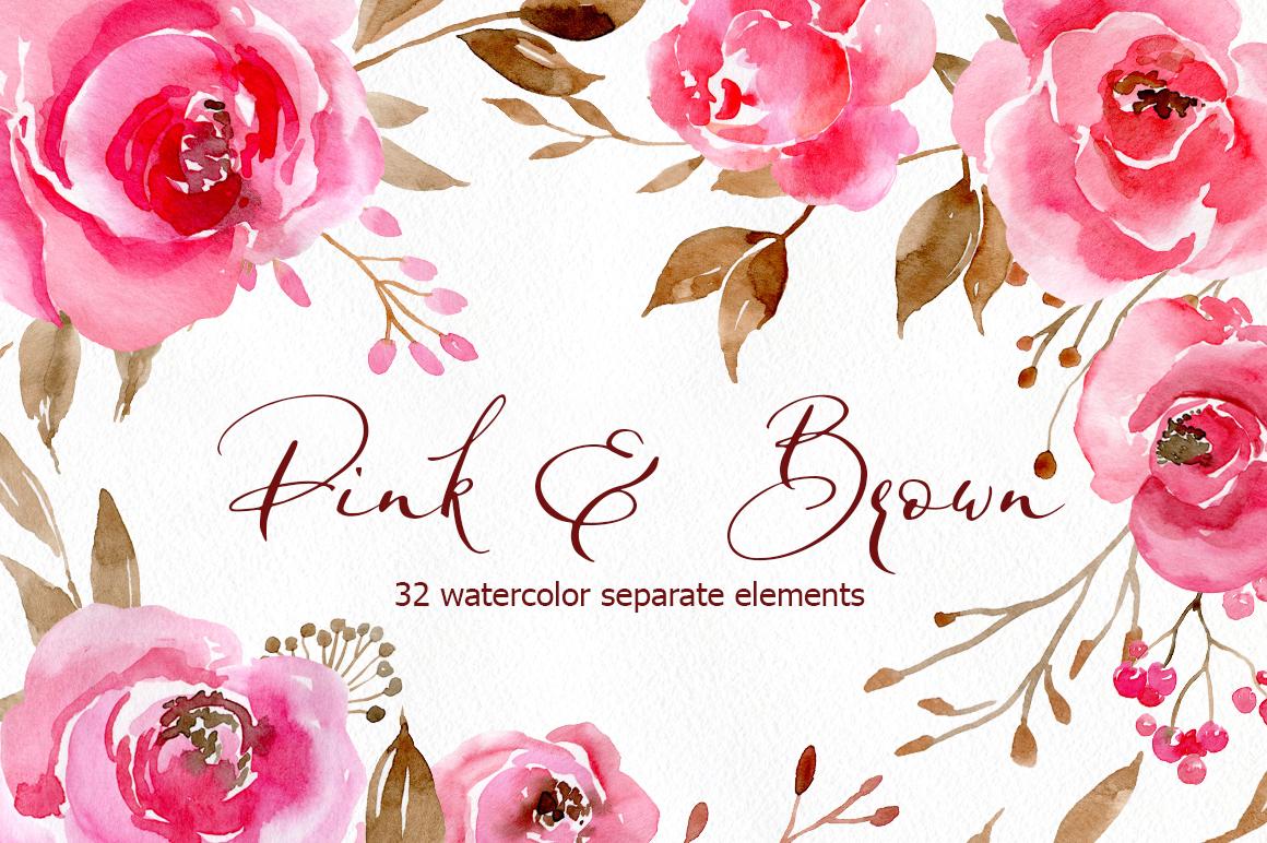 Romantic Watercolor Pink Flowers Png