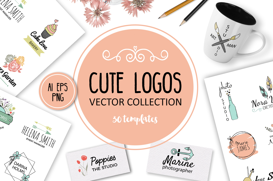 Cute Vector Logos Collection. 30 templates example image 1