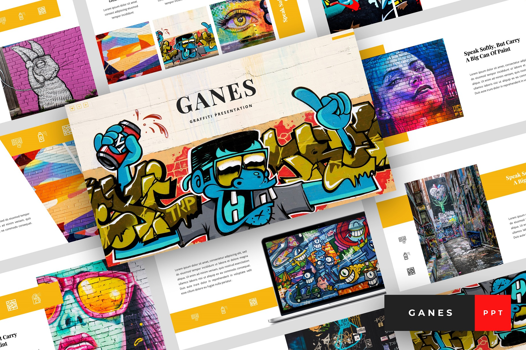 Ganes - Graffiti PowerPoint Template example image 1