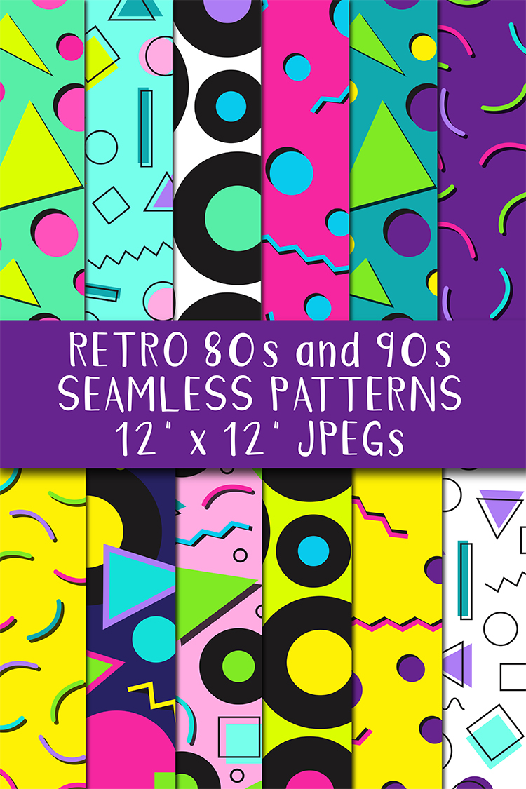 12 80s 90s Style Retro Neon Pop Art Pattern Digital Papers example image 5