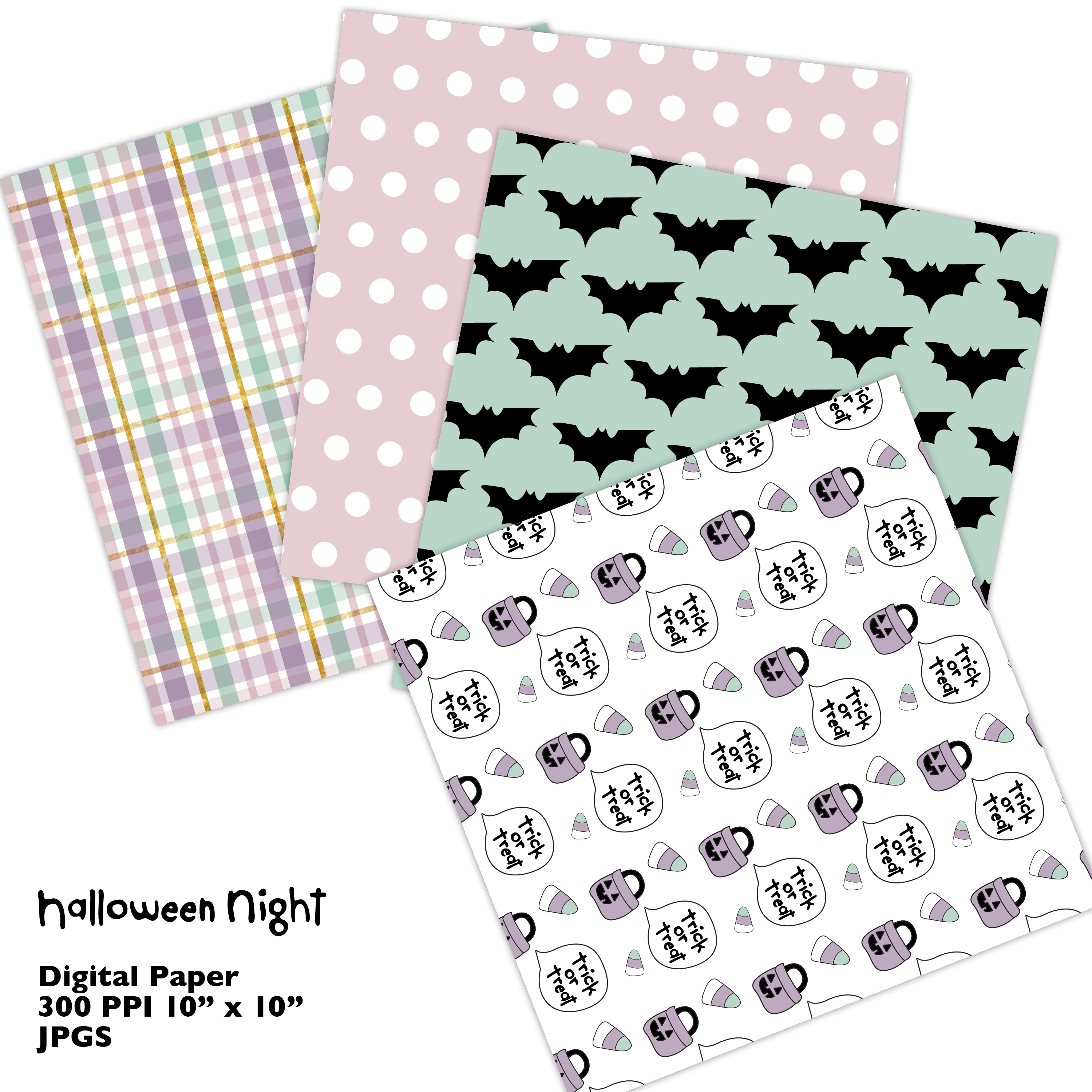 Hand Drawn Halloween Digital Paper in Pastel Colors example image 2
