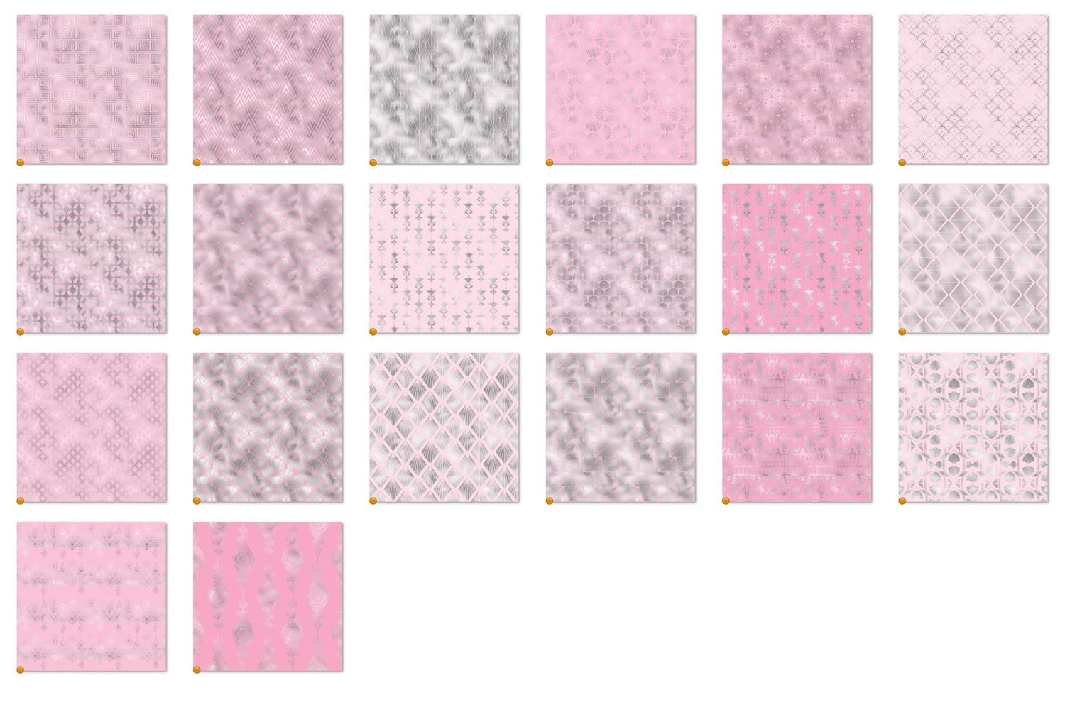 Pink and Silver Art Deco Digital Paper example image 5