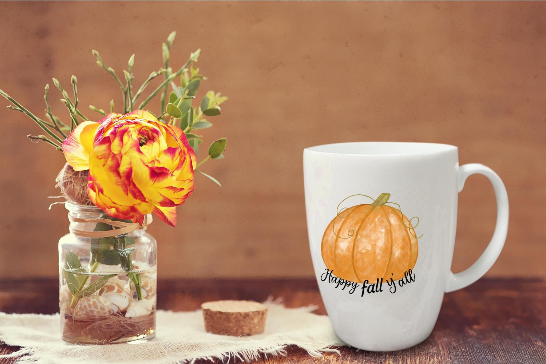 Happy Fall Y'all Watercolor Pumpkin Sublimation Clipart example image 3
