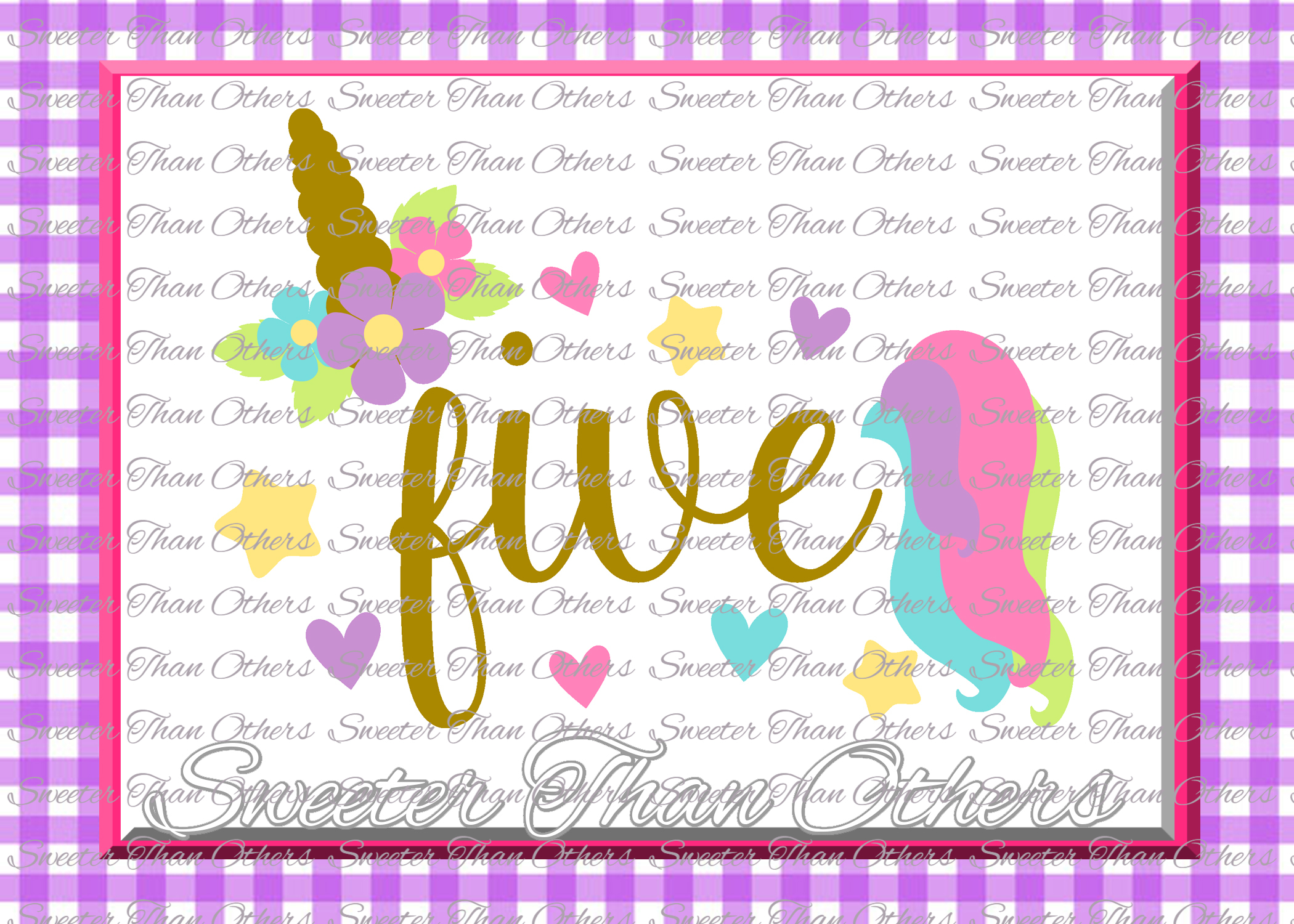 Fifth Birthday SVG, 5th Birthday Unicorn svg example image 1