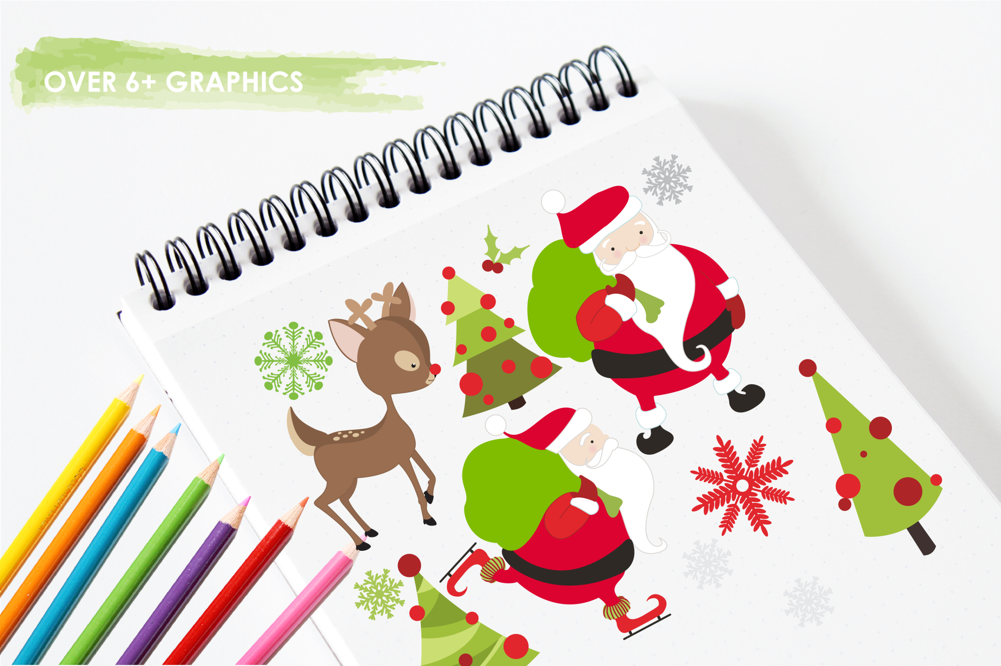 Santa Rudolf graphics and illustrations example image 3