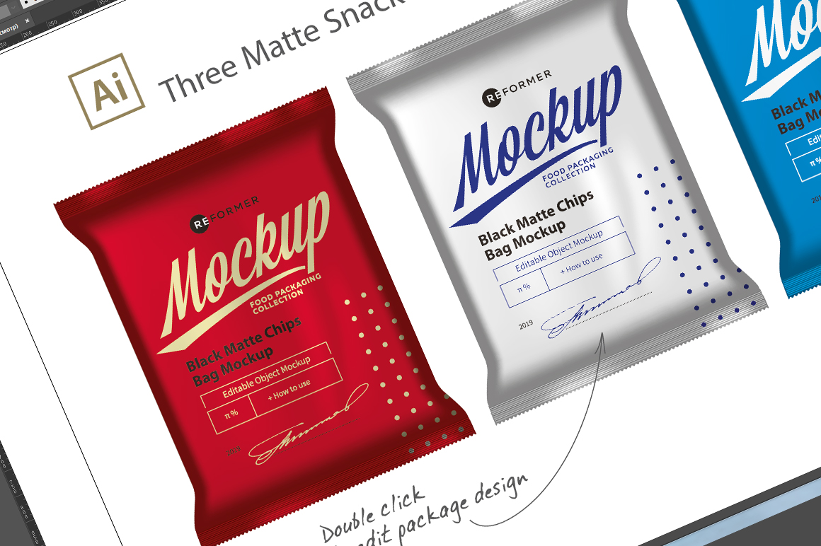 Three Matte Snack Bags Mockup example image 4
