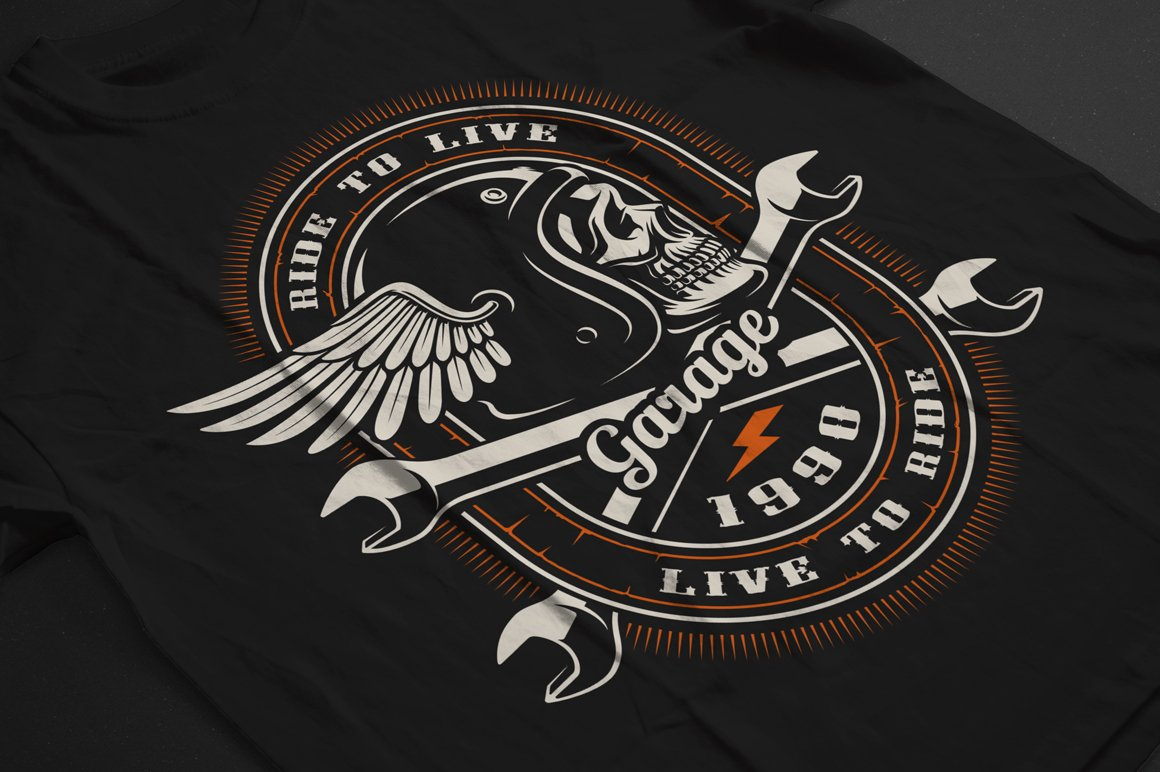 Set of Bikers Shirt Designs. example image 12