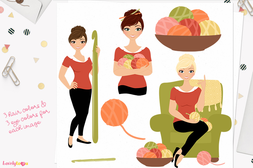Woman crochet character clip art L161 Juliet example image 1