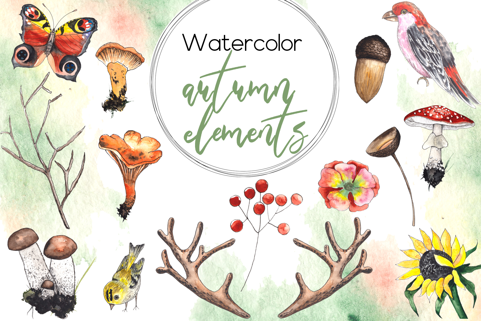 Watercolor autumn BUNDLE example image 10