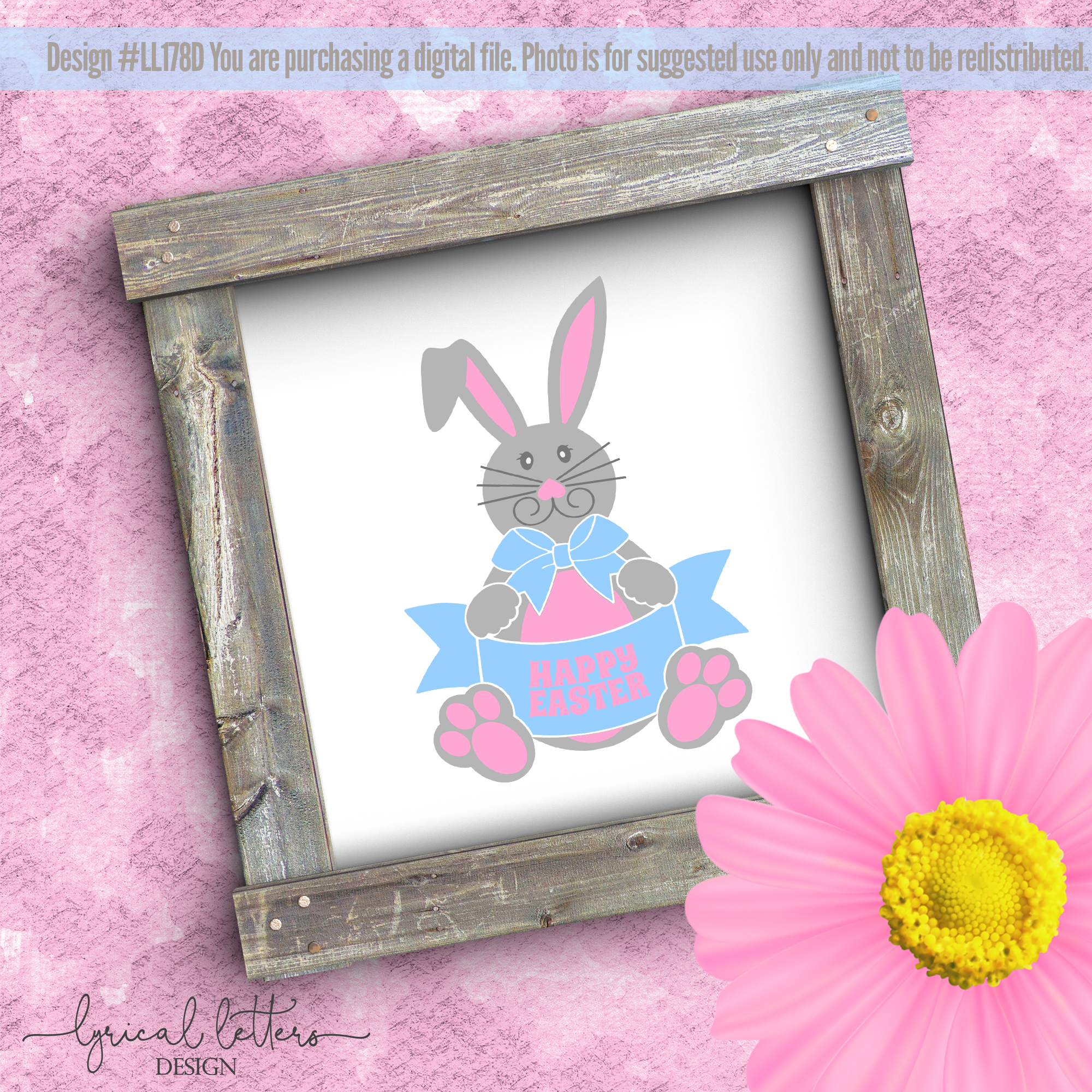 Happy Easter Bunny SVG DXF Cut File LL178D example image 2