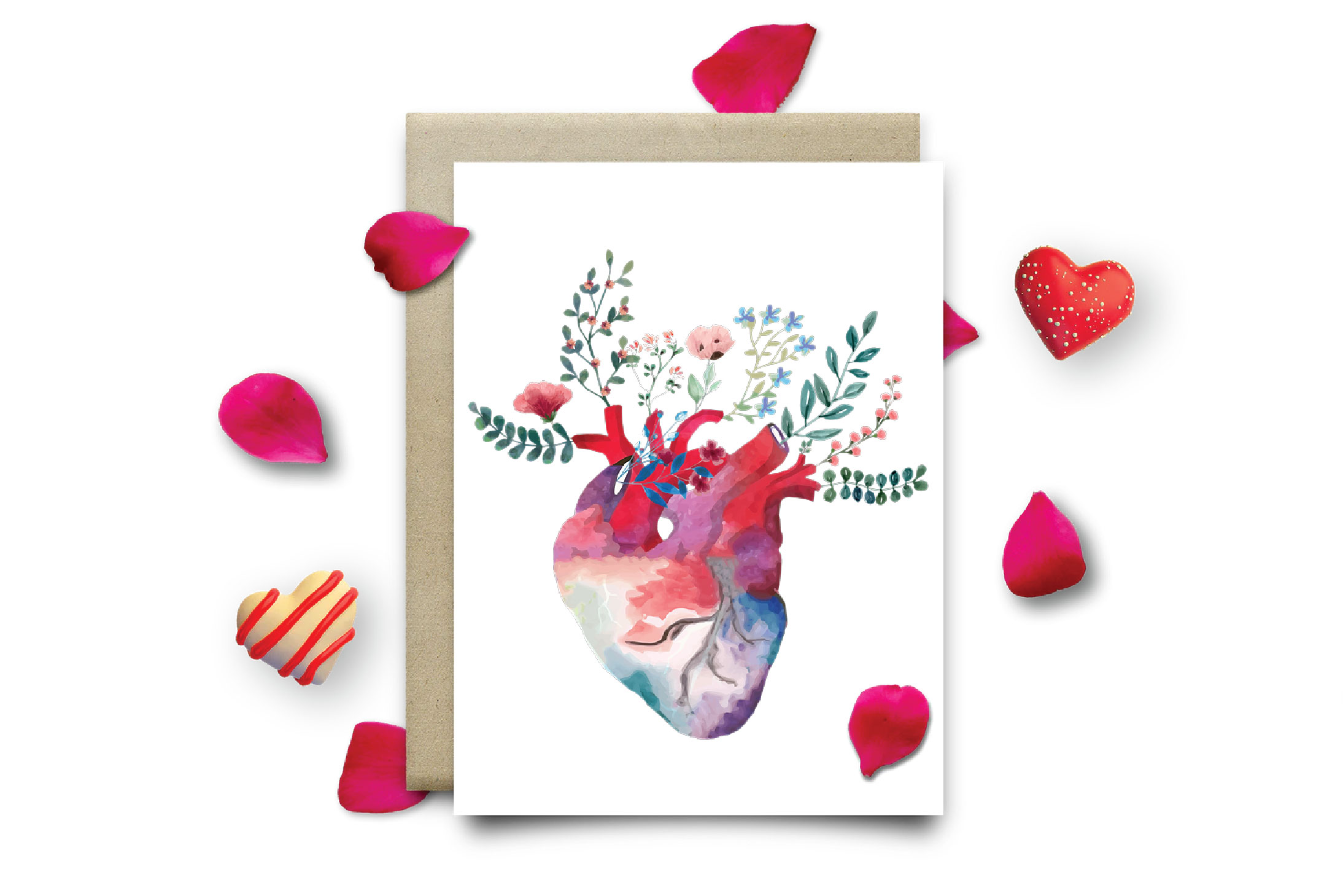 Flowering anatomical heart Valentine's day card design png. example image 8