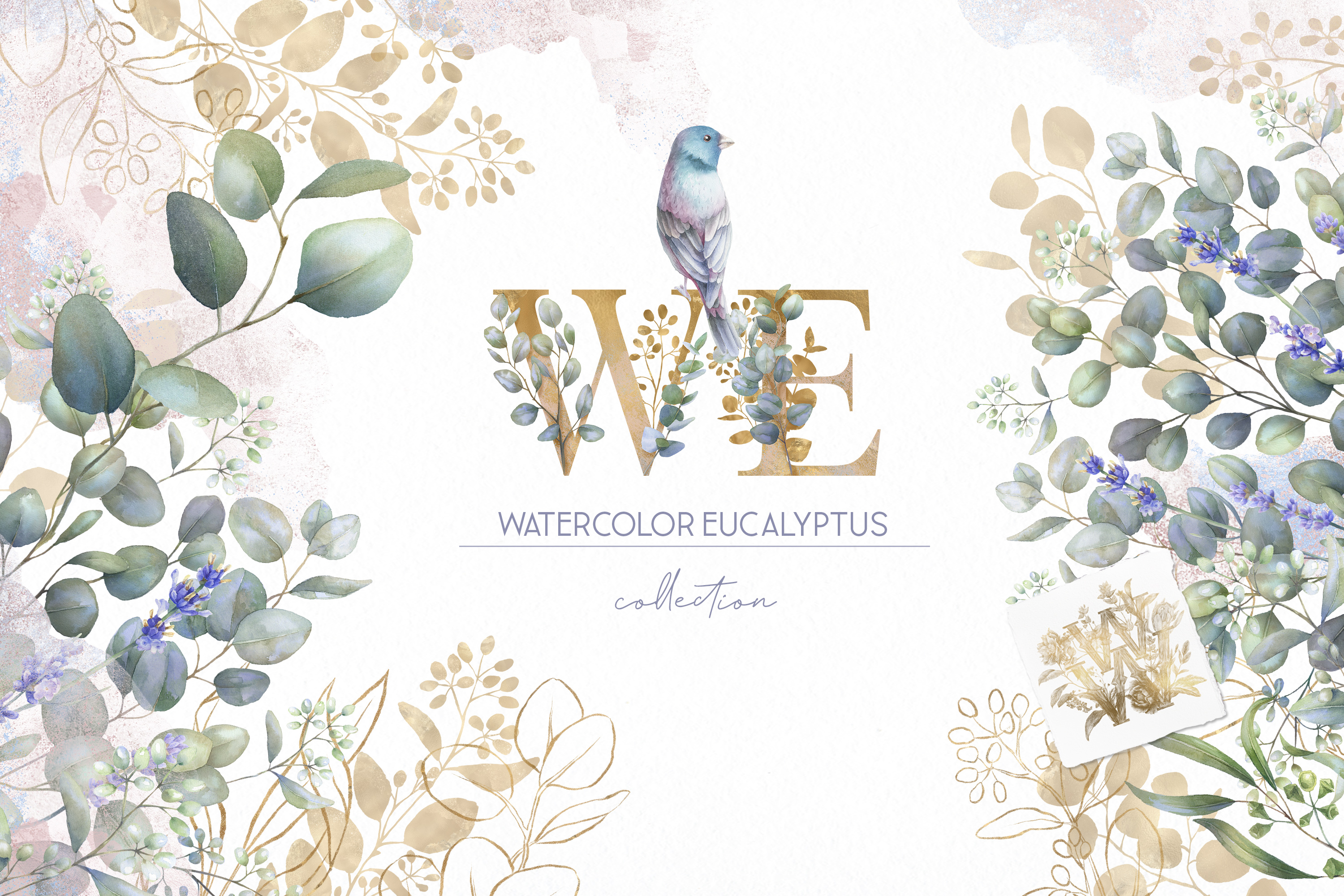 Watercolor Eucalyptus greenery collection clip art example image 1