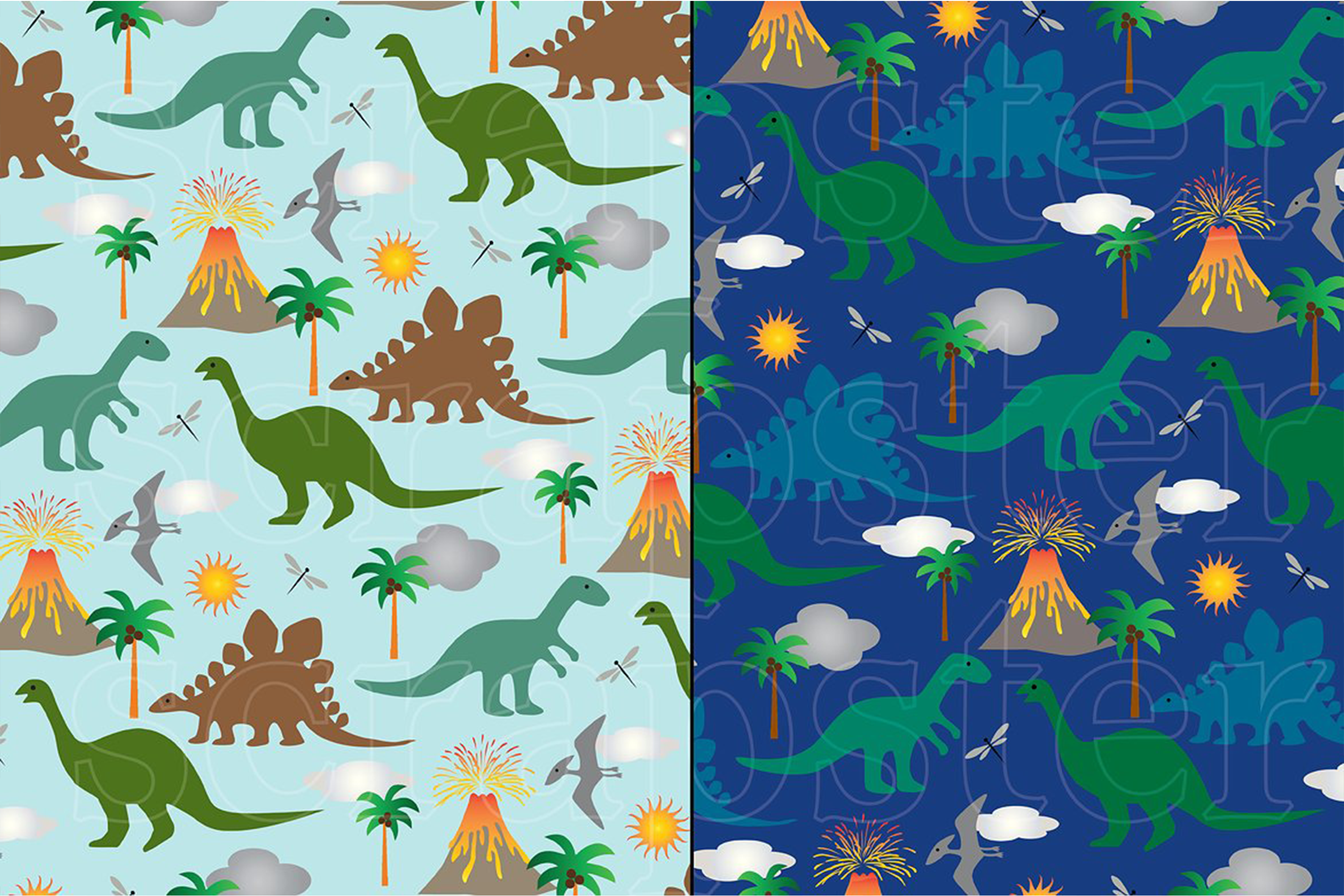 Dinosaur Patterns and Borders example image 3
