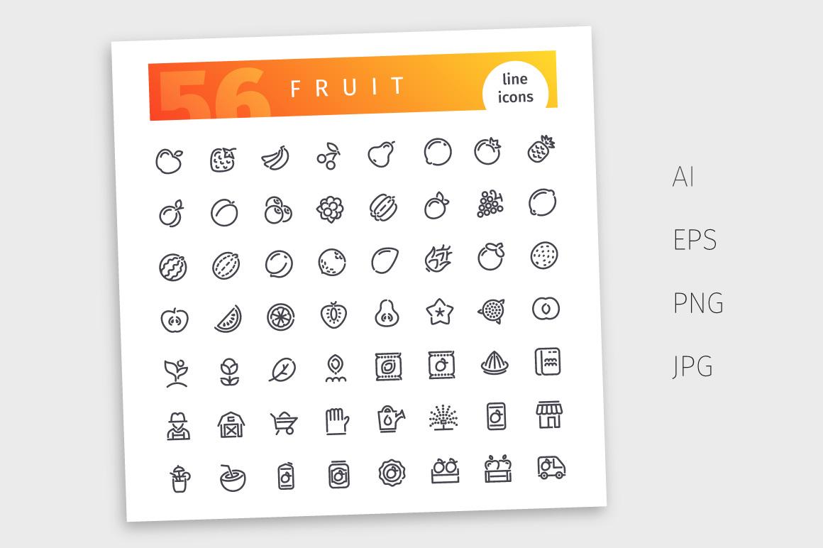 Fruit Line Icons Set example image 4