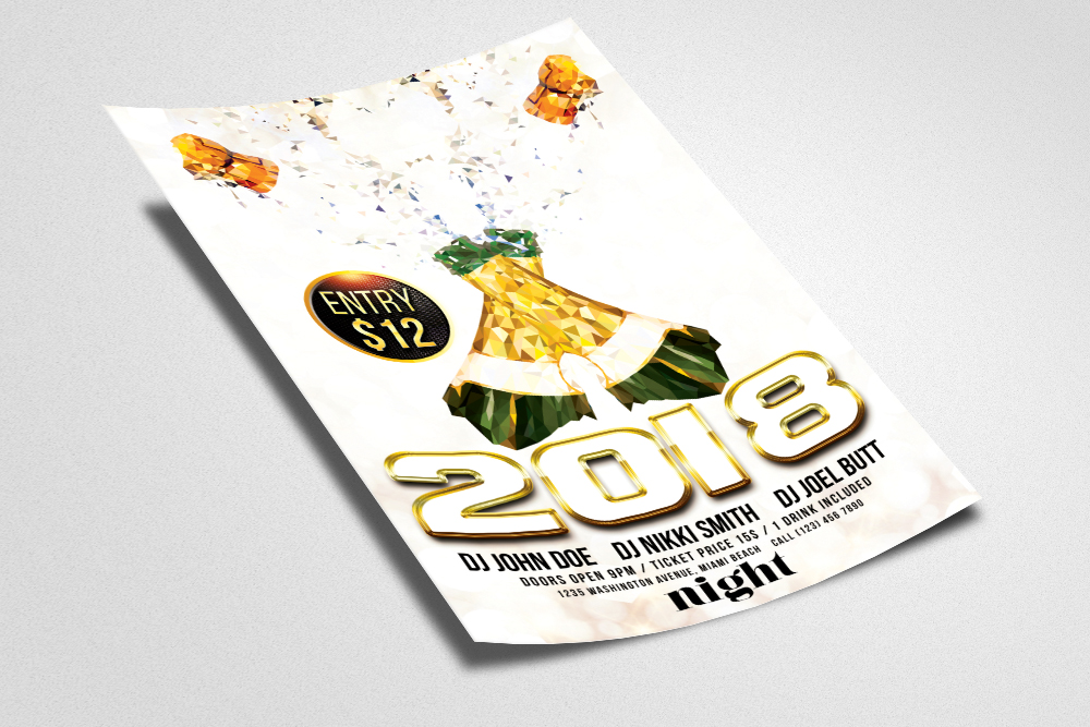 New Year Flyer Psd Templates example image 3