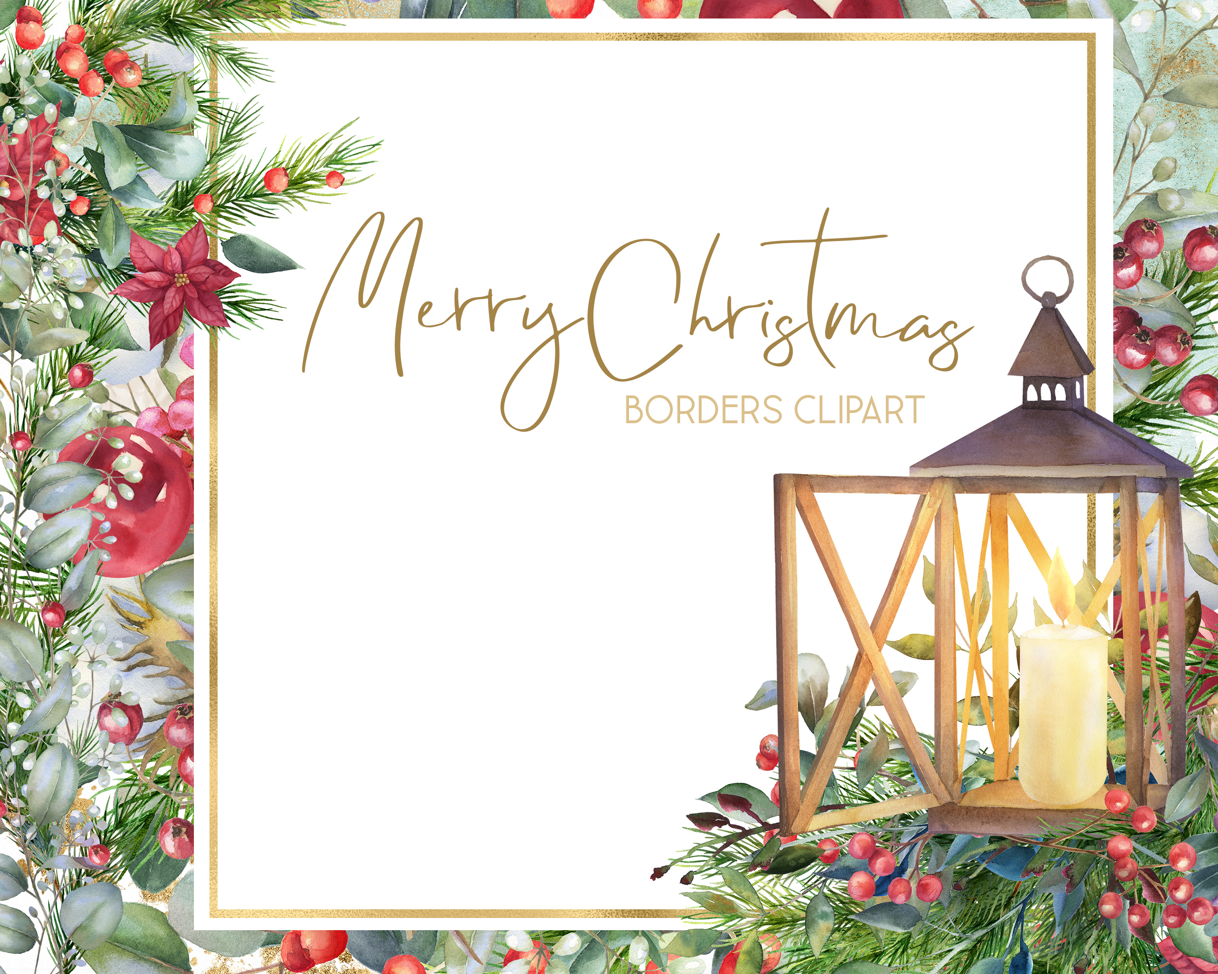 Christmas watercolor border, Poinsettia wedding Bouquet png example image 10