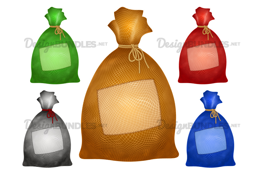 Vector Sack Bag Patch Burlap Rope Realistic Filled Icon Set example image 1