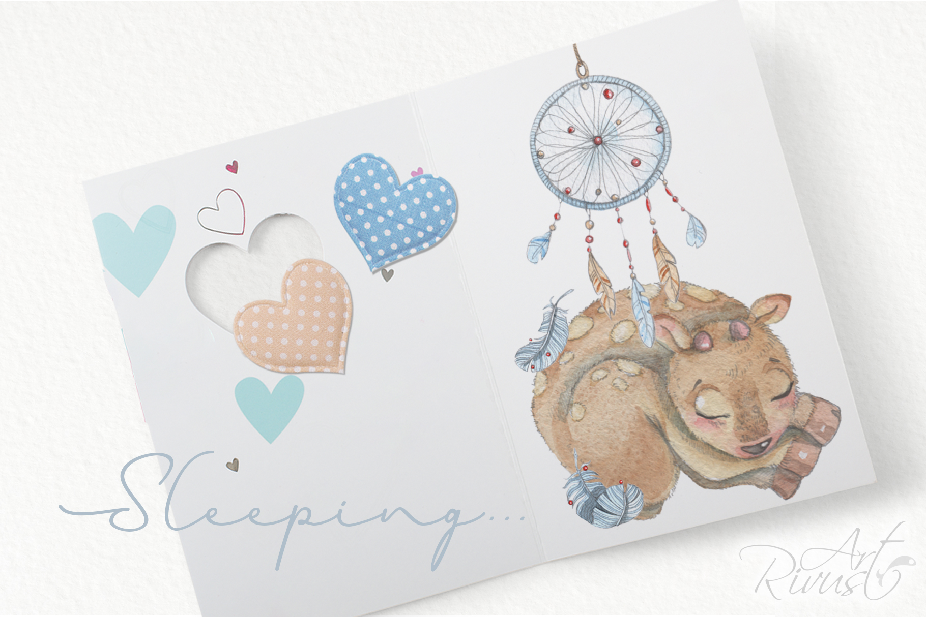 Cute sleeping baby animals watercolor clipart kit example image 7