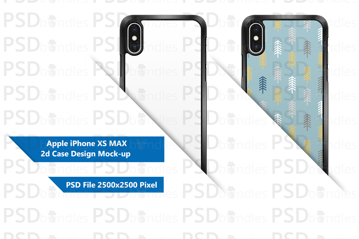 Apple iPhone XS MAX 2d Case Design Mock-up Back View example image 1
