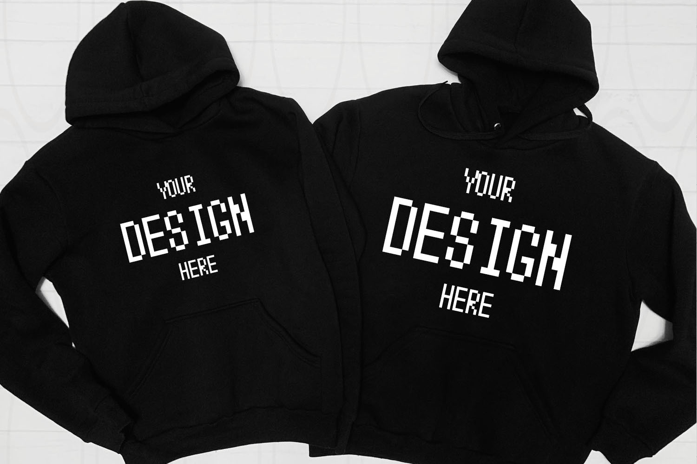 Blank Two black Hoodies mockup Fashion Styled example image 1