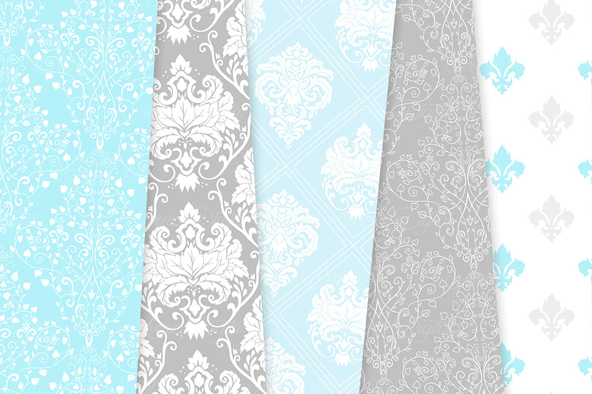 Blue and Grey Damask Patterns - Seamless Digital Papers example image 8