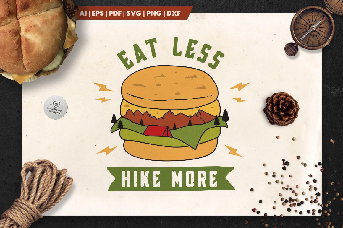 Mountain Burger Logo / Hike More Logo / Eat Less Hike More example image 1