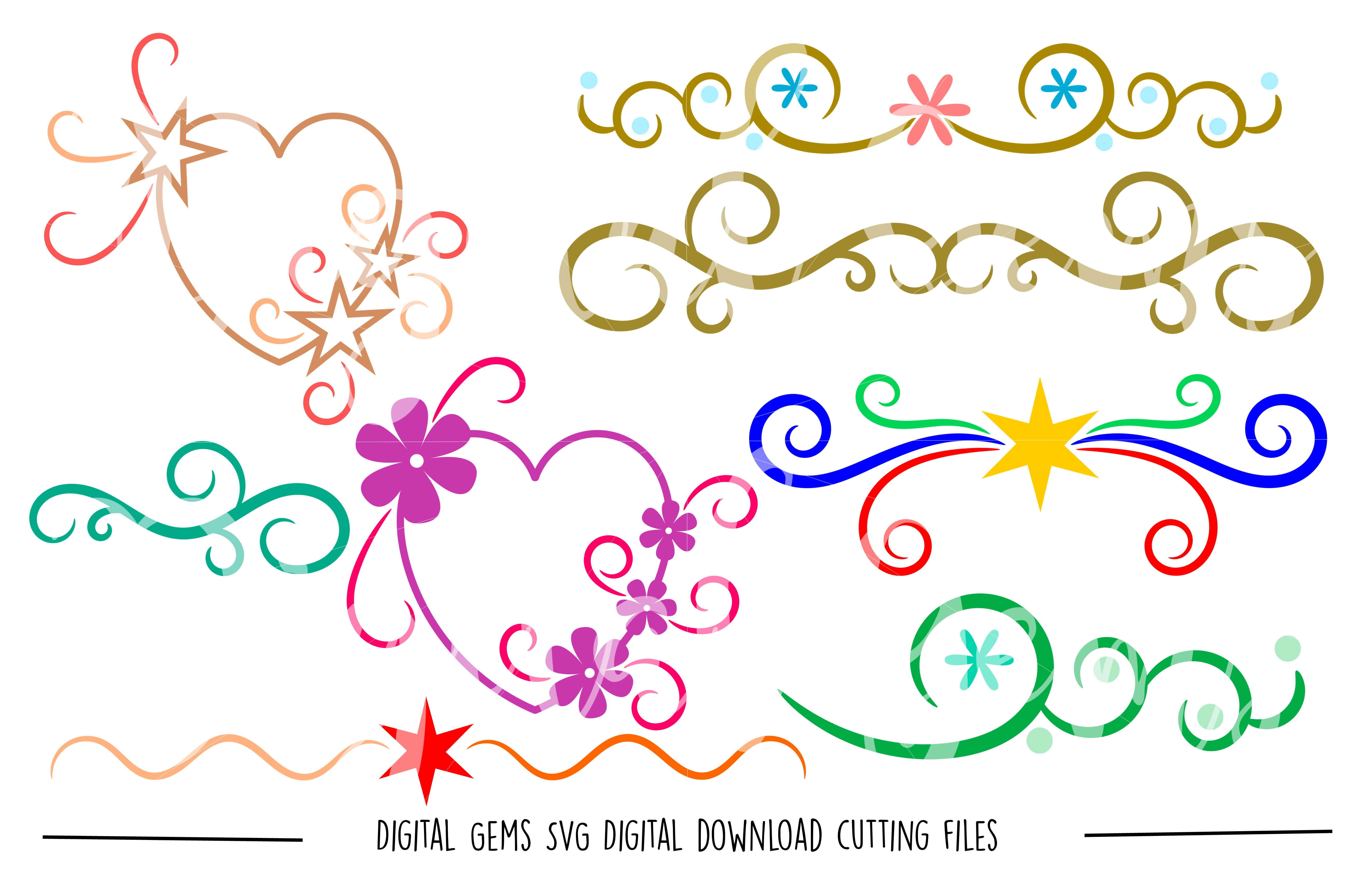 Hearts and Flourishes SVG / DXF / EPS / PNG files example image 1