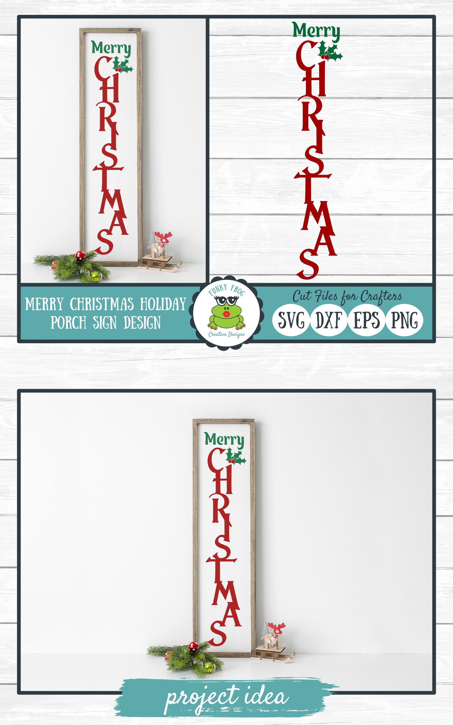 Merry Christmas Holiday Porch Sign Design - Christmas SVG Cu example image 4