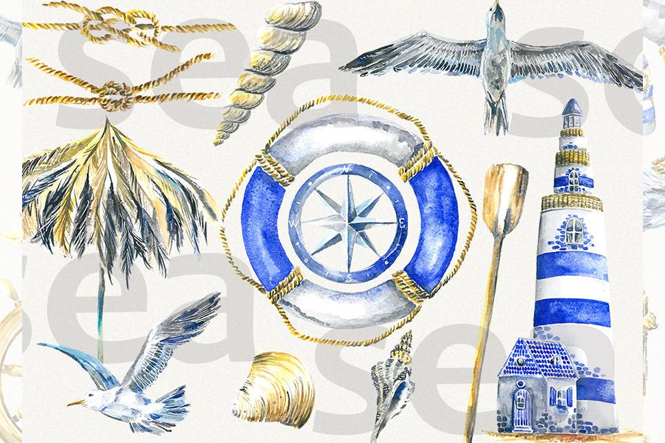 Vacation clipart, summer clipart, watercolor sea clipart example image 4