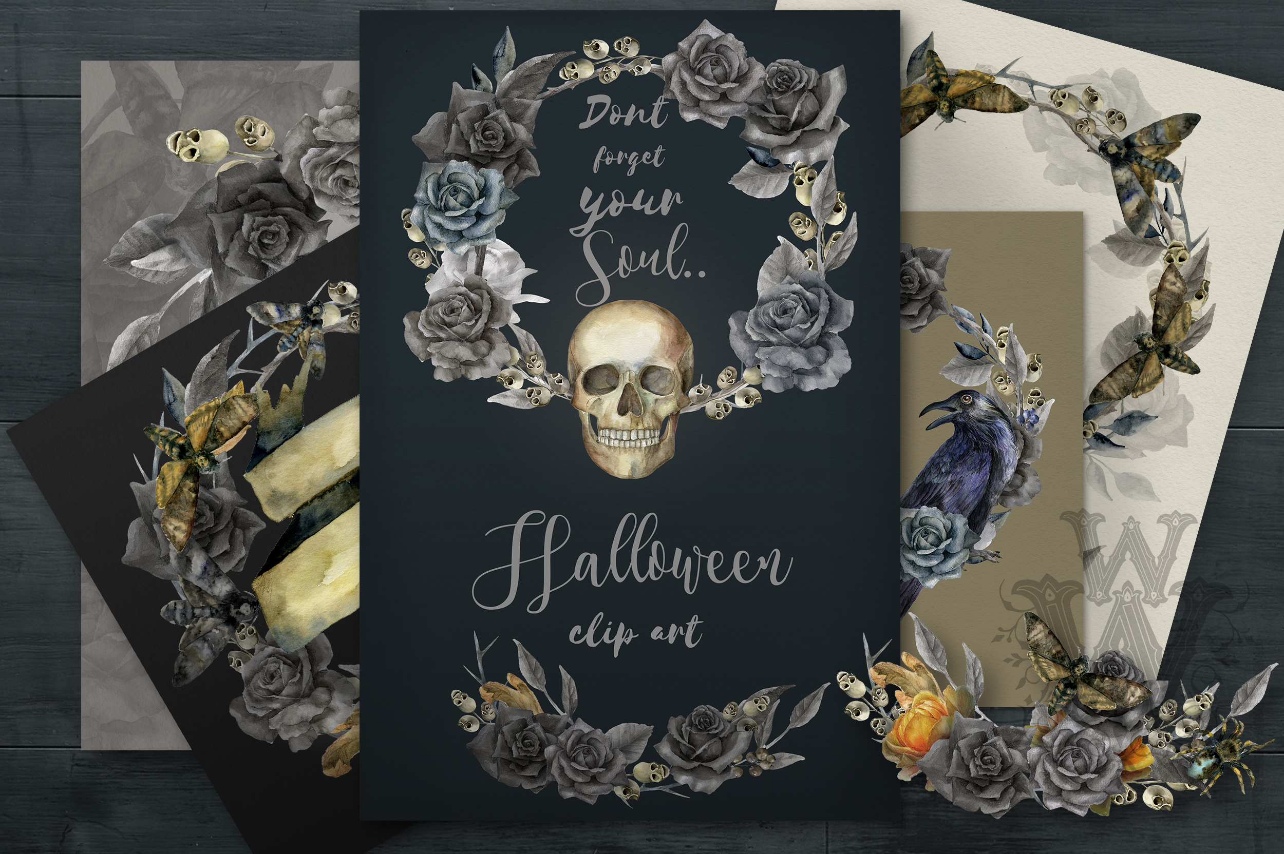 Watercolor Halloween compositions, skull bouquets wreath example image 1