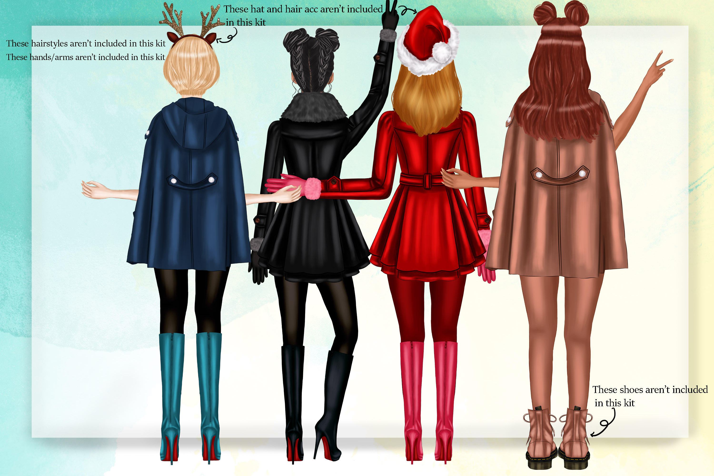 Add On Kit Best Friends Clipart Winter Besties Clipart example image 8