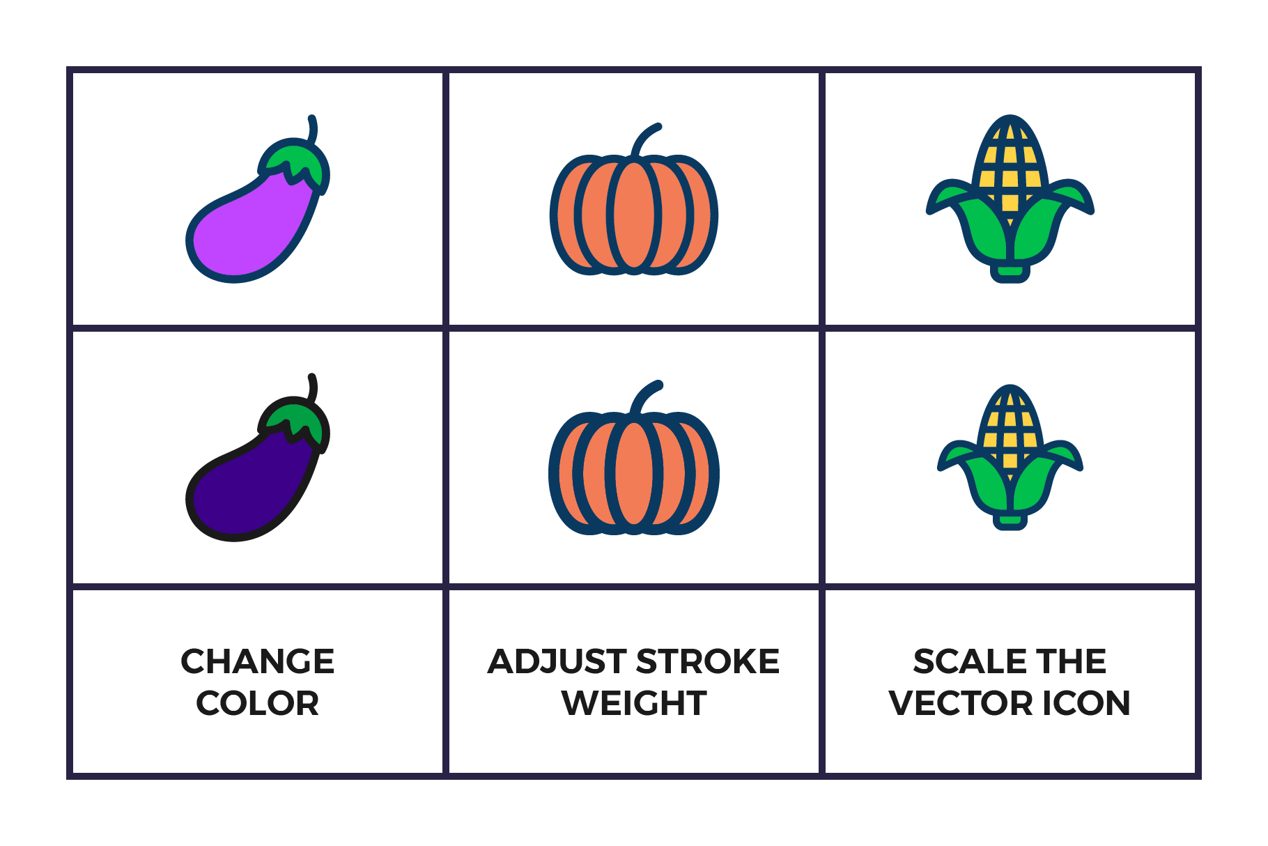 Fruit and Vegetables Icon Set example image 2