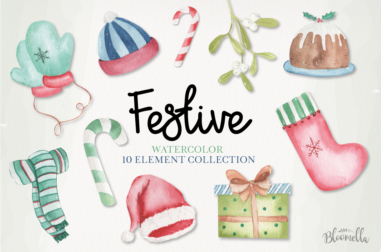 Festive Holiday Watercolor 10 Elements Christmas Painted example image 1