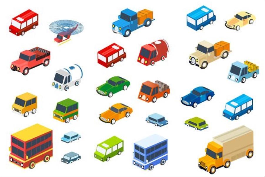 The isometric flat style cars example image 1