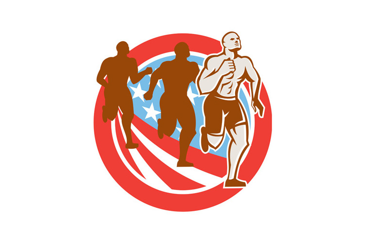 American Crossfit Runners USA Flag Circle Retro example image 1