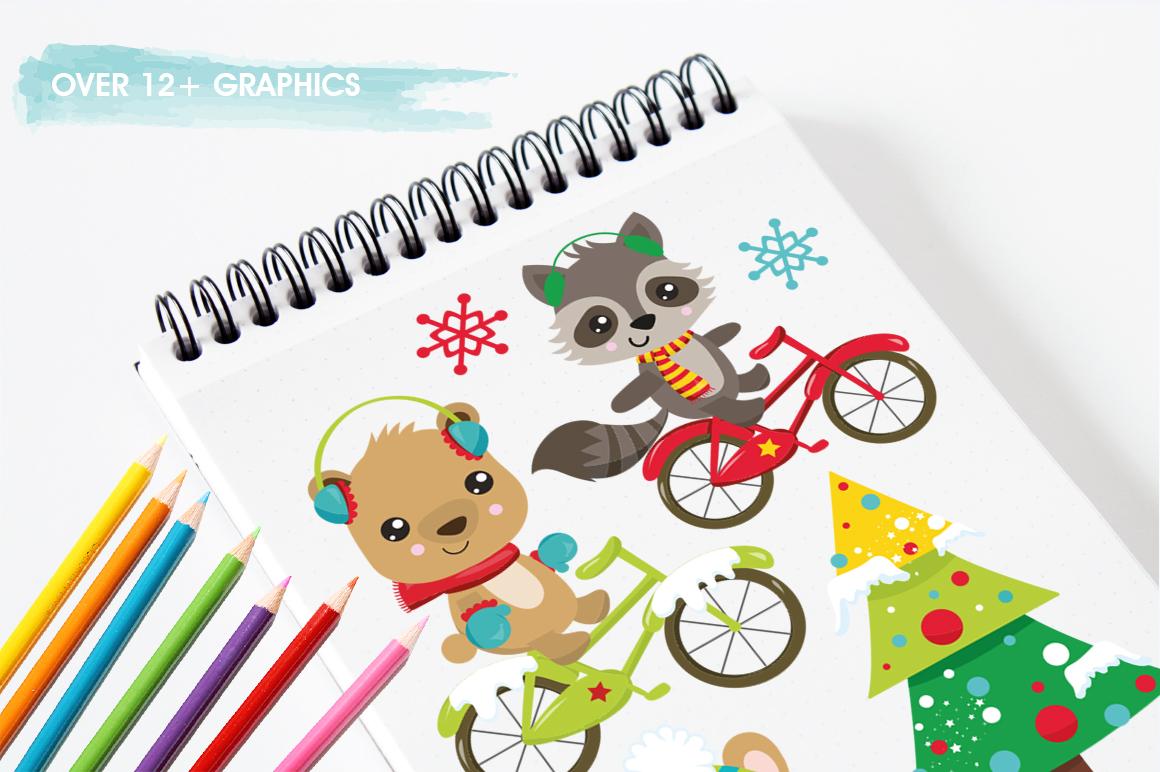 Christmas Woodland bikes graphics and illustrations example image 3