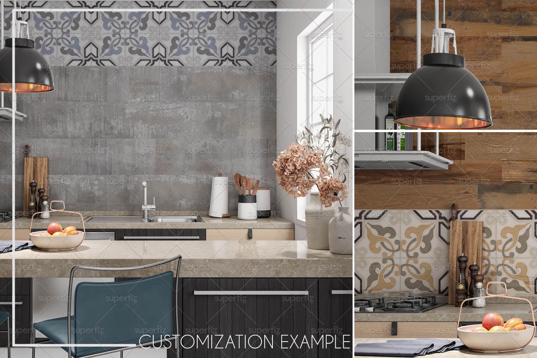 Blank Wall Kitchen PSD Mockup SM73 example image 6