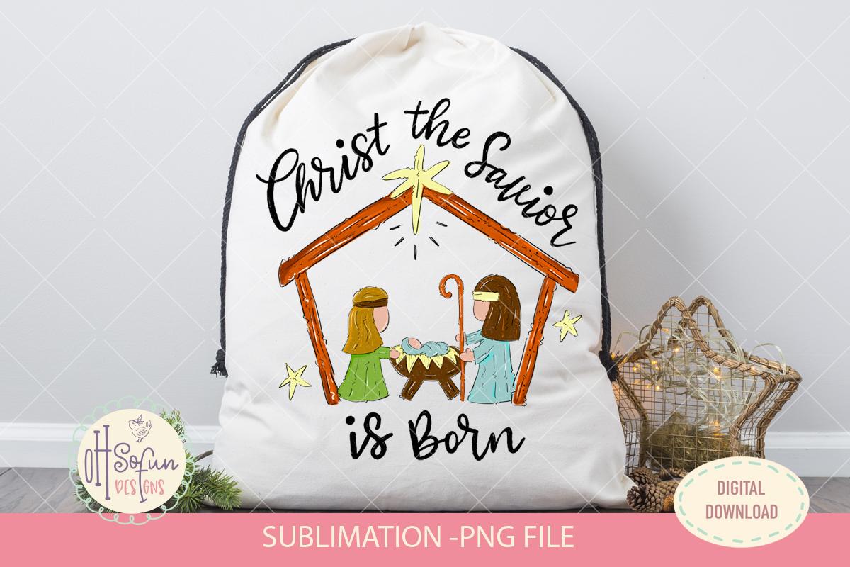 Christ the savior is born, nativity Christmas sublimation example image 2