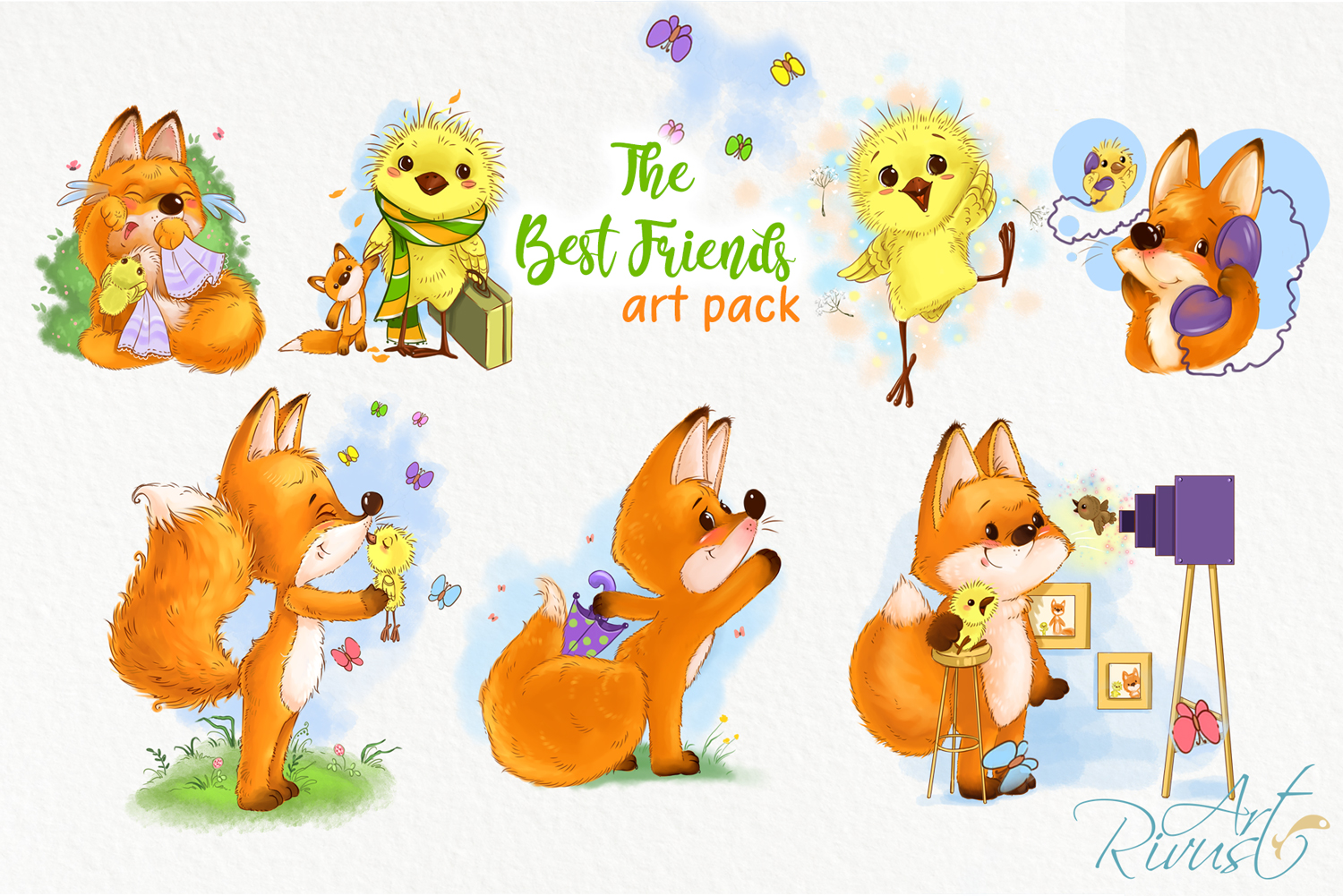Fox and chick PNG clipart. The best friend graphic art. example image 5