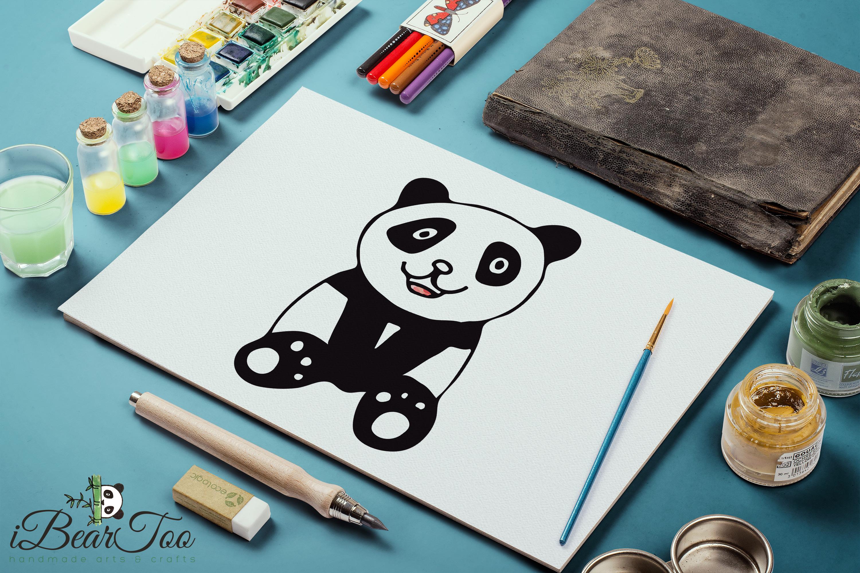 Panda SVG Watercolor Clipart Bear Drawing Vector Cut File example image 11