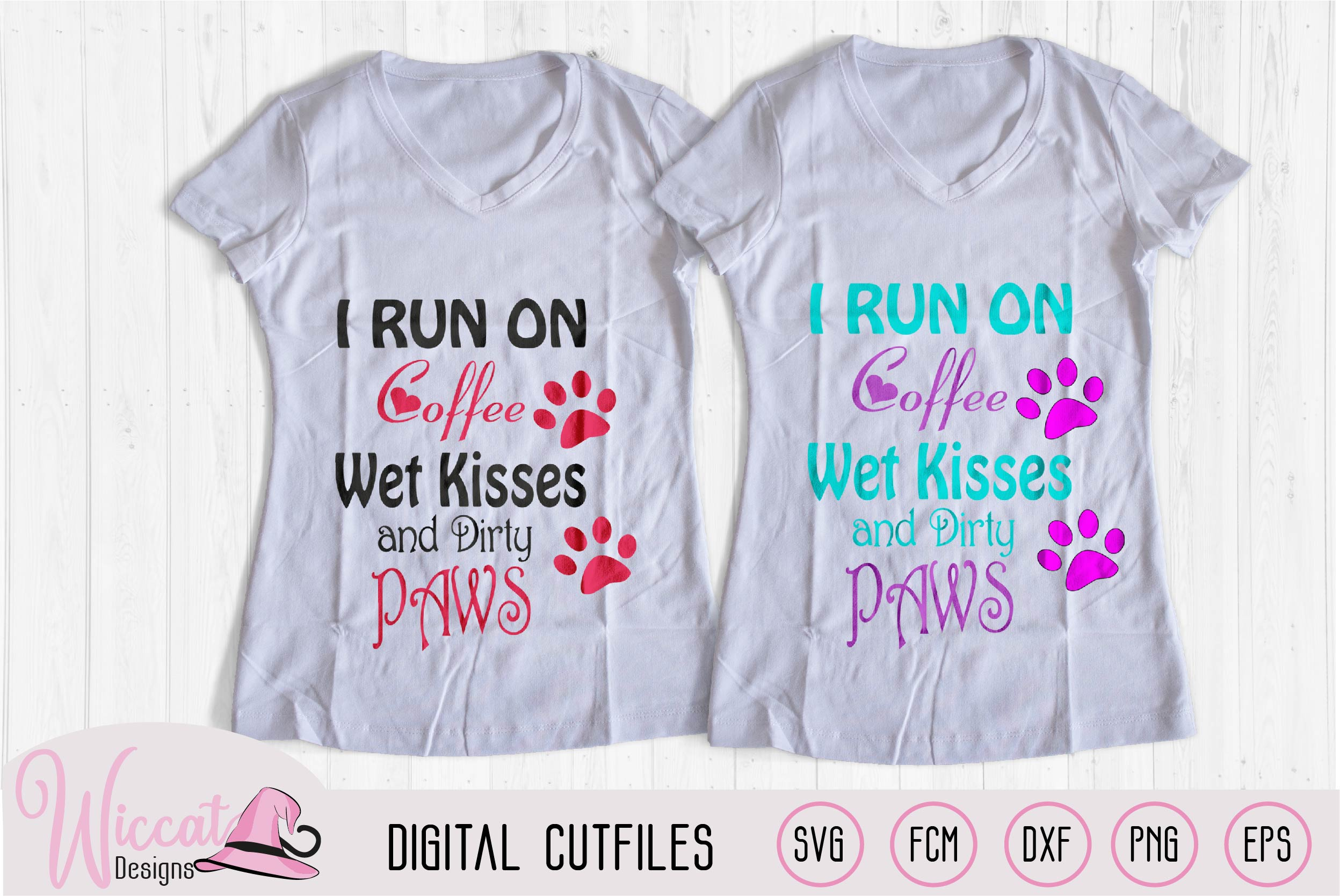 Dog love and Coffee quote svg, I run on coffee svg, wet kis example image 2