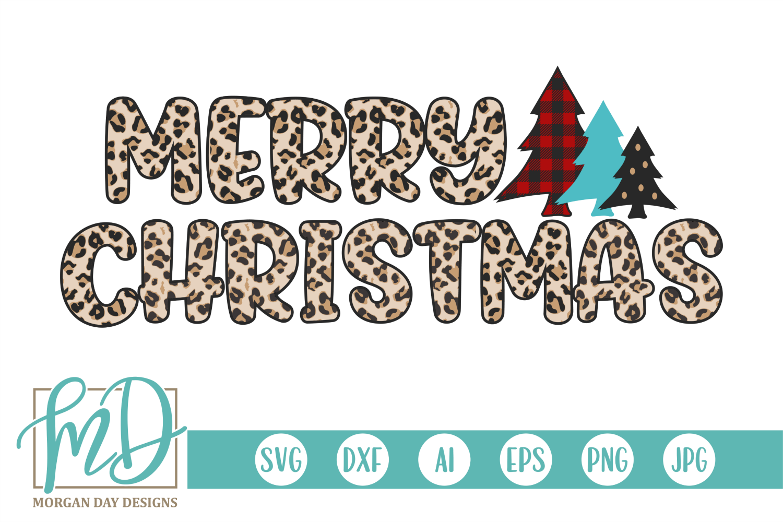 Buffalo Plaid Christmas Tree - Leopard Merry Christmas SVG example image 1