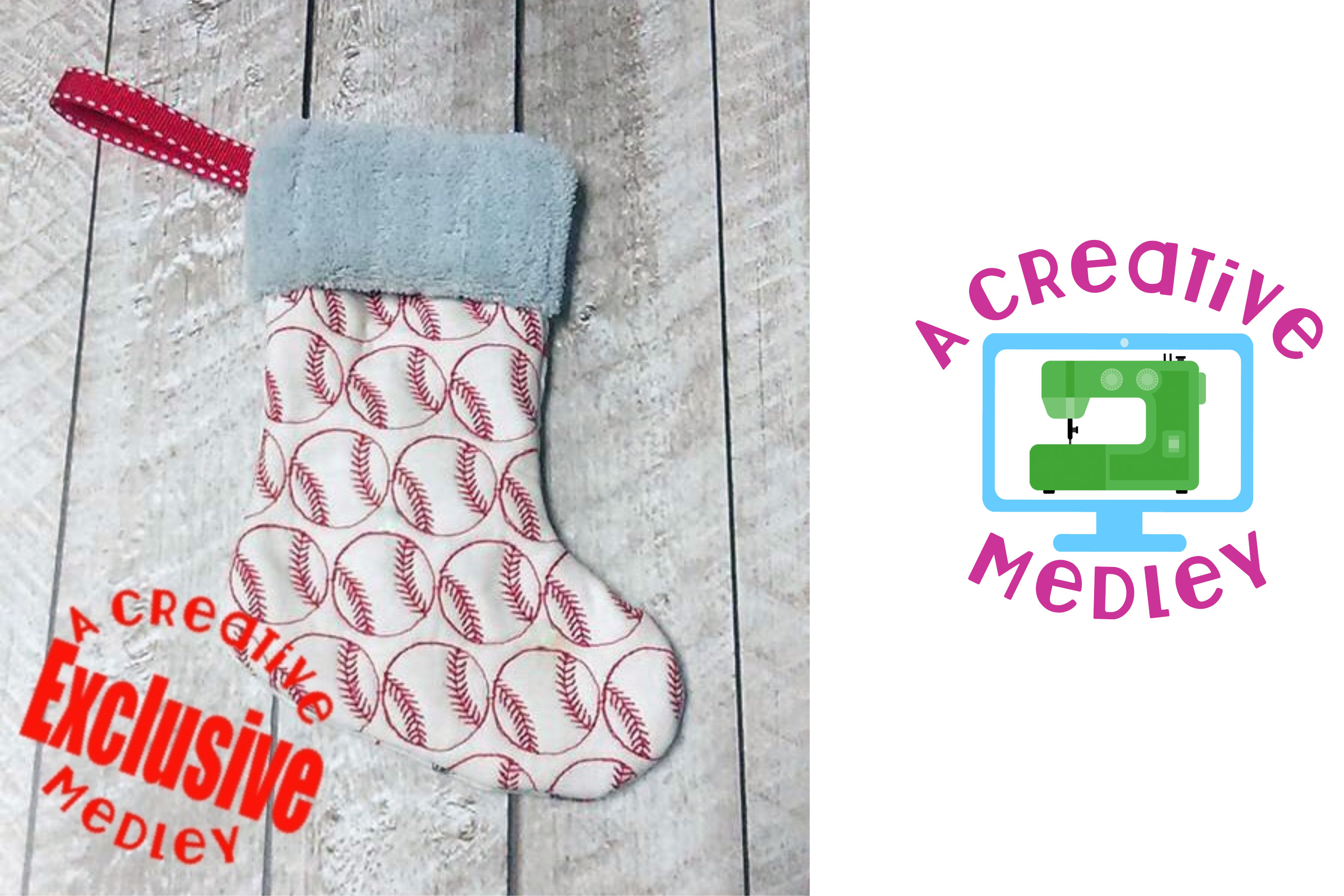 In the hoop Stocking with Cuff and Baseball Motif Embroidery example image 1