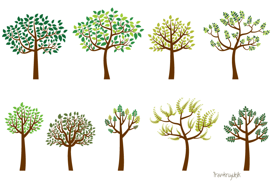Green leaves trees clipart set, Spring tree clip art example image 1