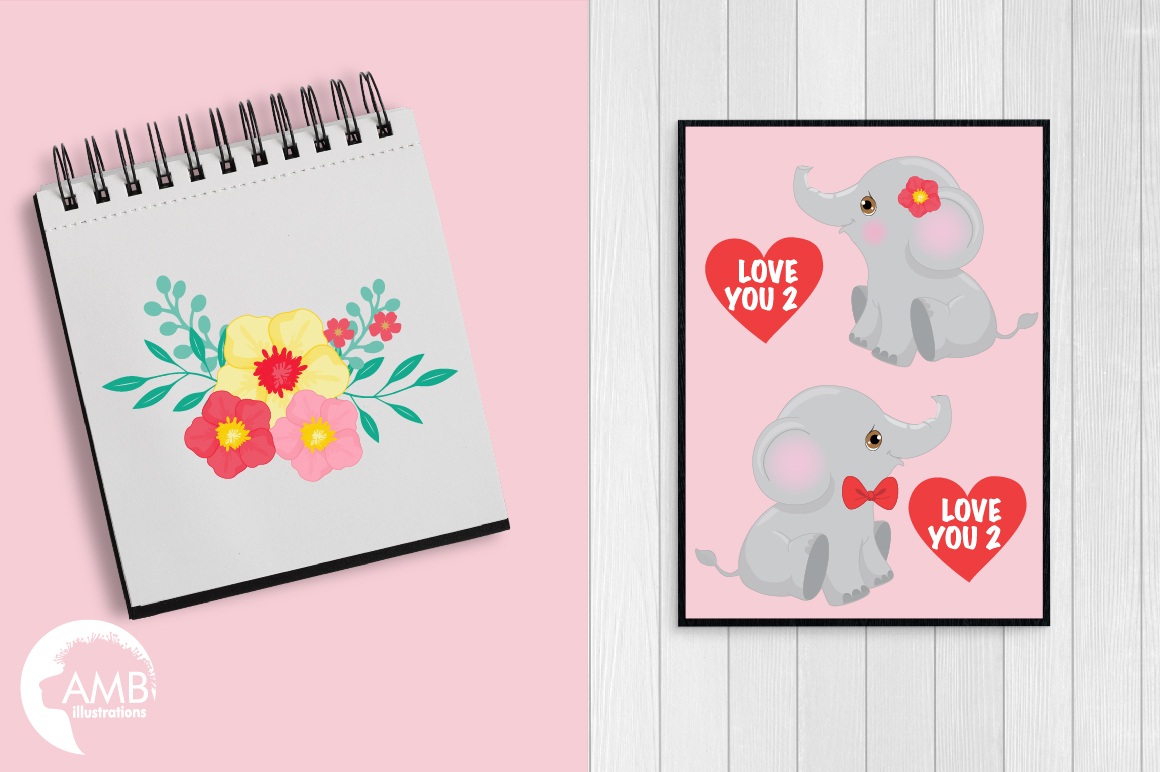 Happy Valentine clipart, Jungle animals clipart, graphics illustrations AMB-596 example image 4
