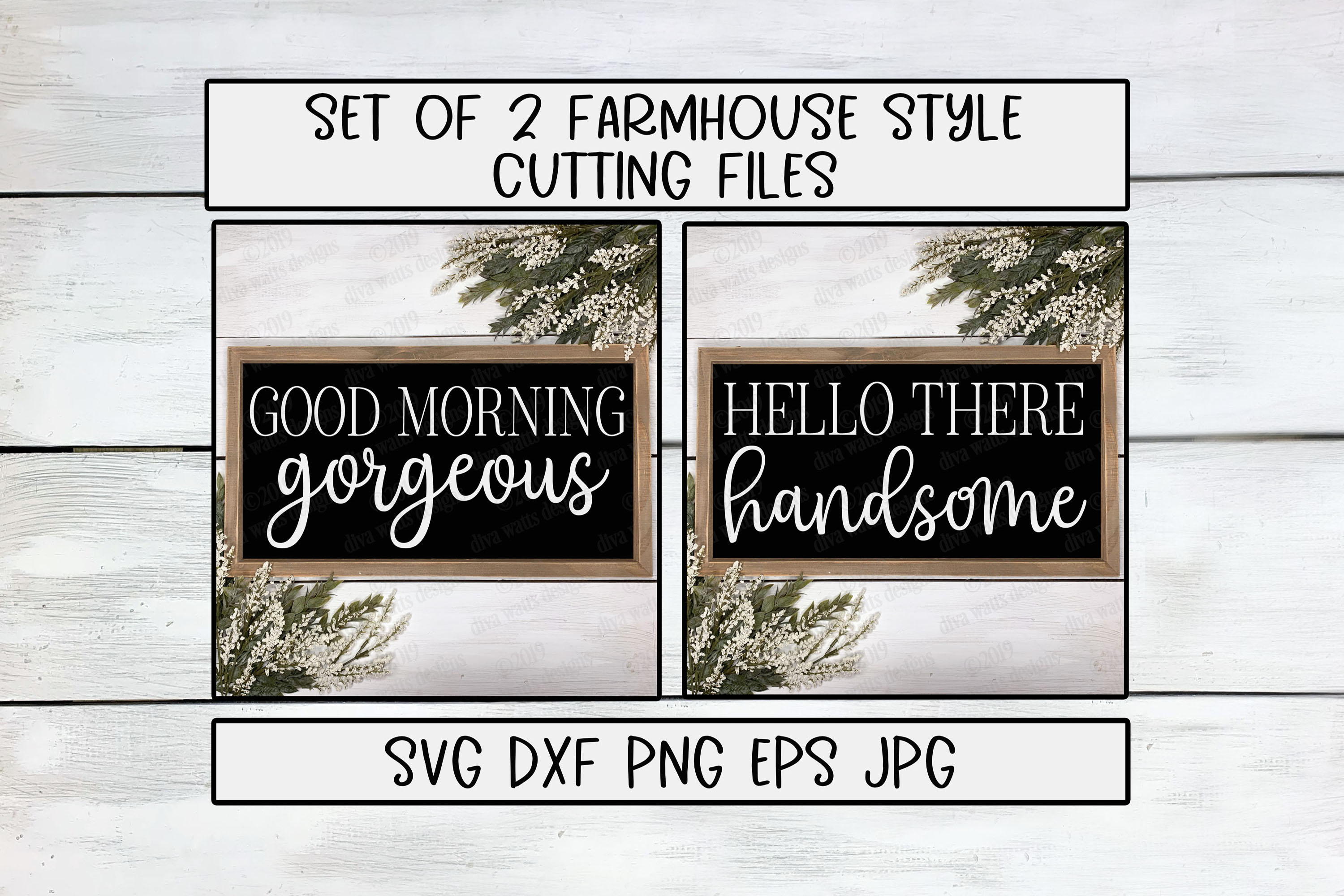Good Morning Gorgeous Hello There Handsome Cutting Files Set example image 2
