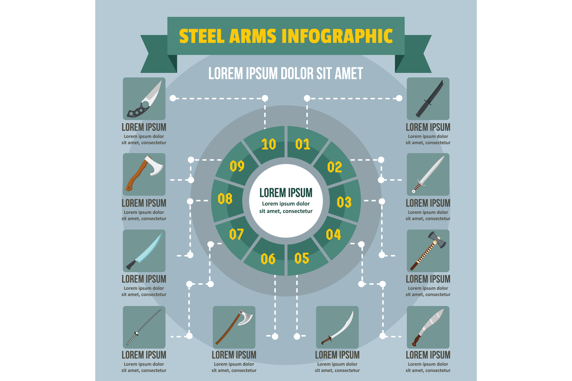 Steel arms infographic concept, flat style example image 1