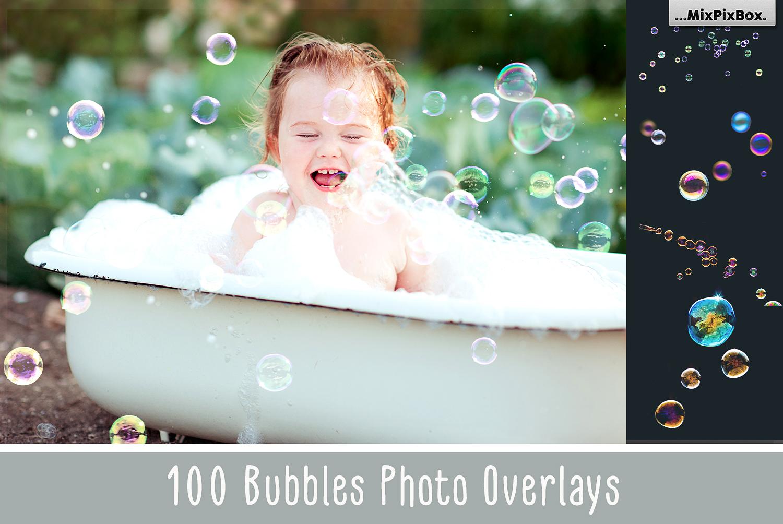 100 Bubbles Photoshop Overlays example image 1